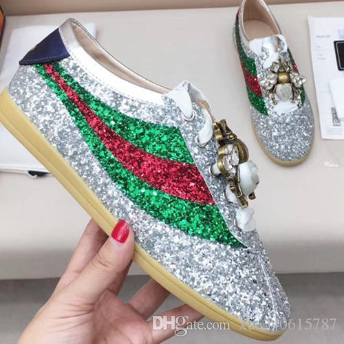 2017 Spring Fall Womens Silver Gold Glitter Pink Genuine Patent Leather Luxury Jewelry Rhinestones Embroidery Low Top Sneakers Trainers