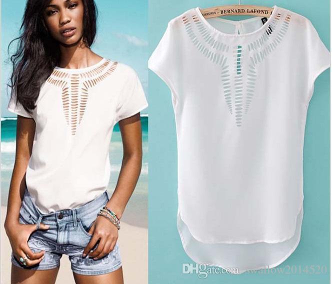 T Shirt Women Top Casual Nice Pop Tees Blouse Fashion Tops T-shirt Pop Tides Chiffon Dress Hollow Laser Engraving Summer Clothes