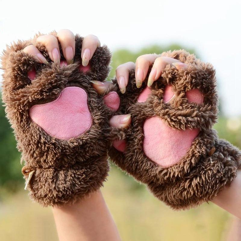 Plush cartoon peripheral claws glove PAWS cosplay women warm gloves
