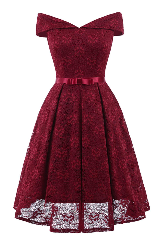 Short Bridesmaid Dresses 2018 Elegant A Line Off The Shoulder Lace Party Special Occasion Gown Tea Length Wedding Guest Dress J190430