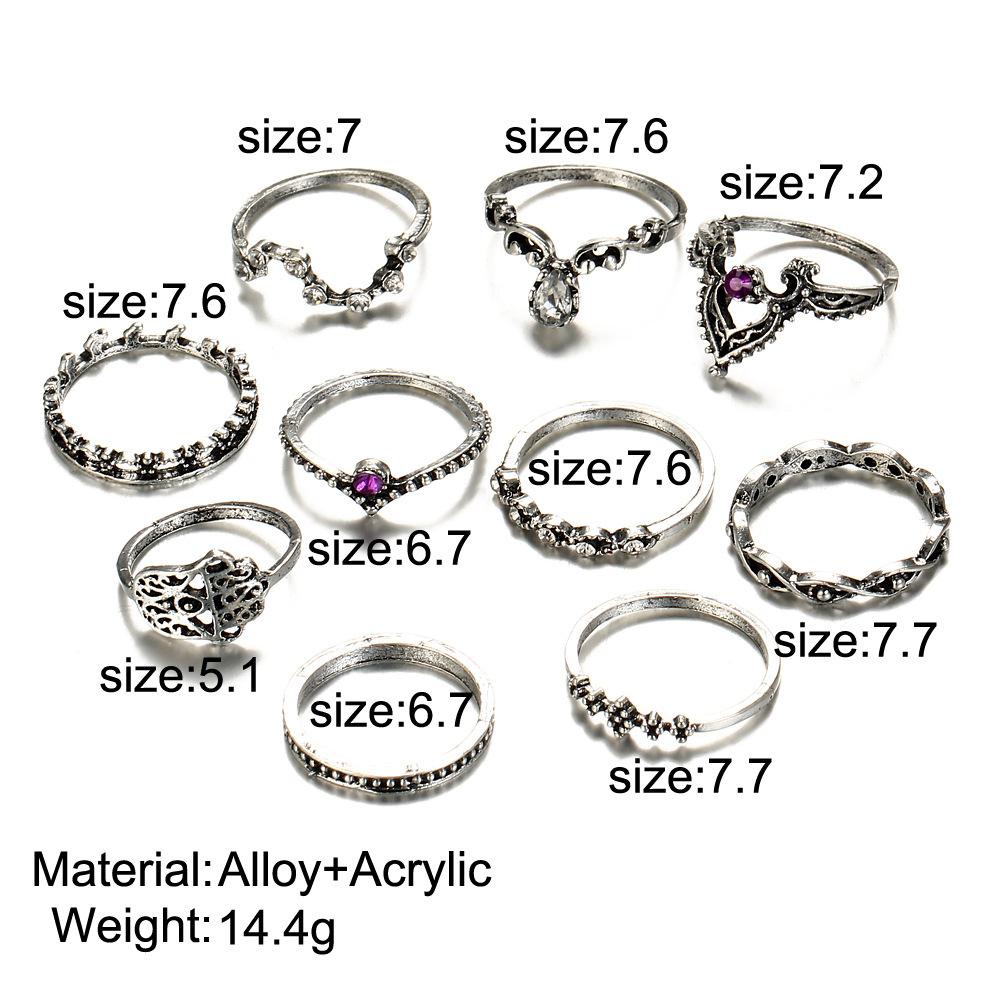 Retalho e por grosso de luxo Designer Jóias mulheres anéis anel de diamante roxo Set oco Crown Anel Combinação Fabricante