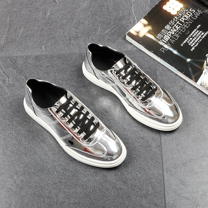 Memorable2019 Skate Korean Chalaza Casual Youth Joker Trend Low Help Bright Leather Shoes Male Golden Flange Increase Shoe