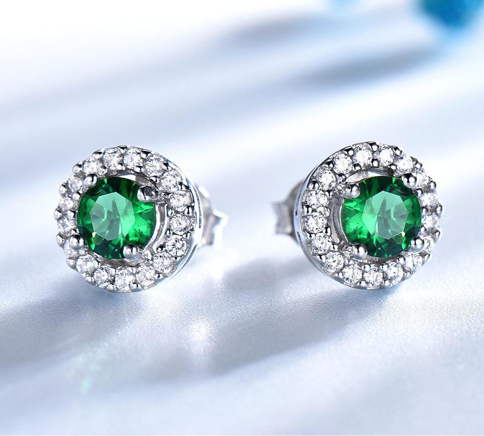 Brand Pure 925 Sterling Silver Jewelry Set For Women Green Emerald Gemstone Pendant Stud Earrings Round Wedding Jewelry Set Fine Jewelry