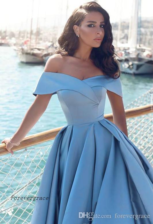 2017 Arabic Light Blue Formal Evening Dress Cheap A Line Off The Shoulders Split Long Formal Wear Party Gown Custom Made Plus Size