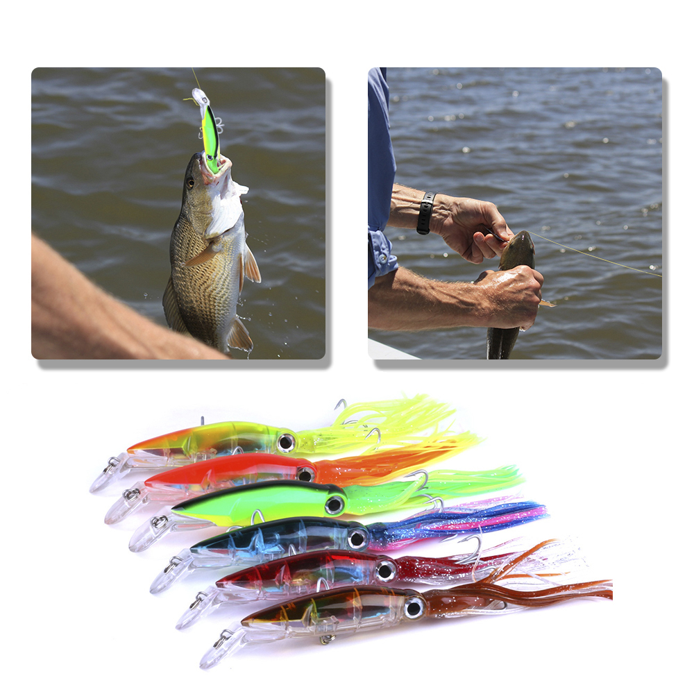 14cm / 40g Fishing Lures 5 Types Baits Artificial Hard Squid Skirts Octopus Trolling Baits With Hook Rig Fishing Tackle