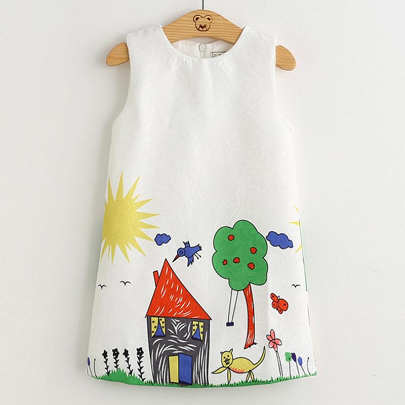 Robe D'été Pour Enfants 2019 Nouvel Européen Et De Style Américain Pour Enfants Robe D'imprimé Floral Robe sans manches Conception 3-8y Bébé Robe J190710