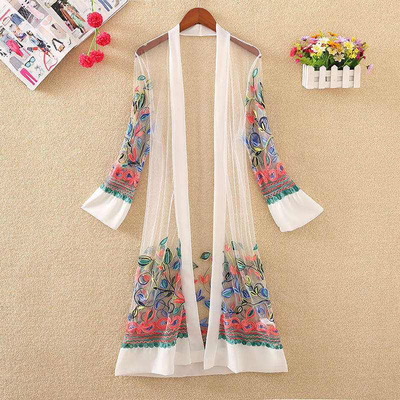 New Women Floral Embroidered Long Jacket Summer Net Cardigan Casual Long Sleeved Thin Coats Ladies Vintage Beach White Outerwear T190828