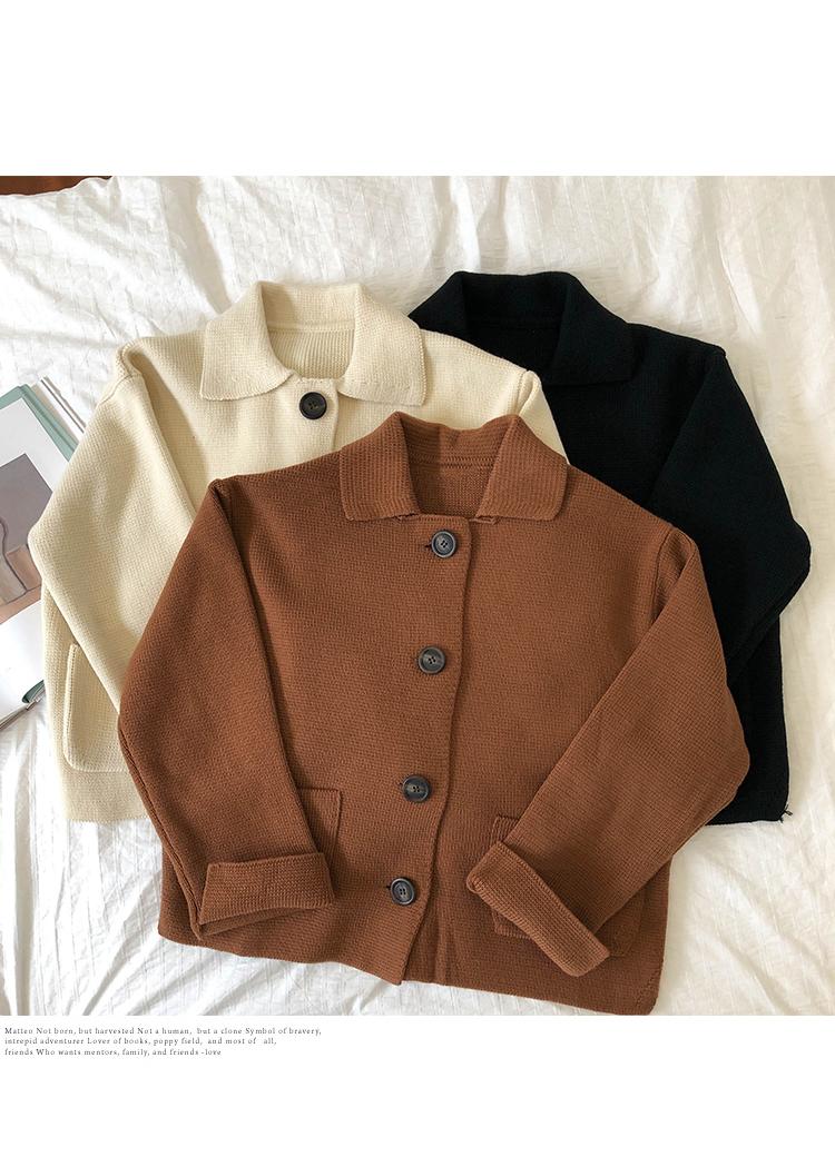 yaka CU ceketlerimden aşağı 3 renk 2019 sonbahar kore tarzı düz renk dönüş kazak kadın X201 Y200116 womens