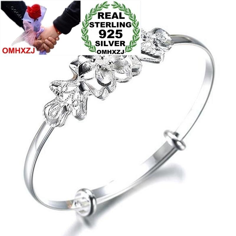 OMHXZJ Wholesale Fashion Star Woman Child Party Gift Butterfly Love Heart Push Pull 925 Sterling Silver Bracelet Adjustable SZ62
