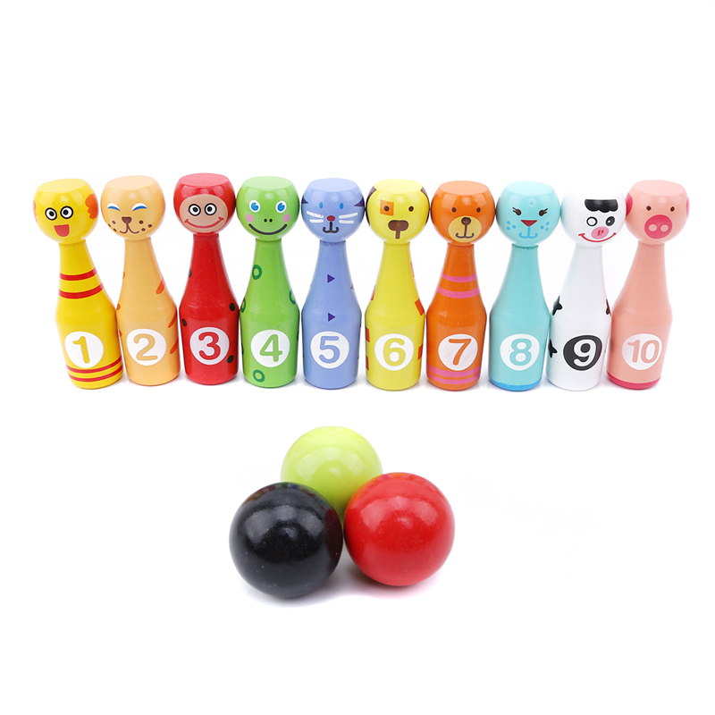 Baby Creative Colorful Cartoon Animals Wooden Bowling Set Kids Hands-on Intellectual Development Sport Toy