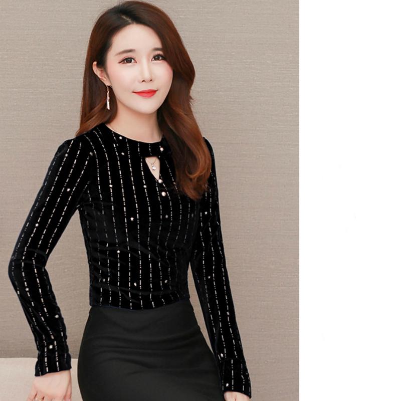 Artı Boyutu Kadınlar Tops Beyaz Bluz Kadın Gömlek Uzun Kollu Kadife Çizgili Bluz Gömlek Yeni Moda Kadın Üstleri Ve Bluzlar A603 J190615