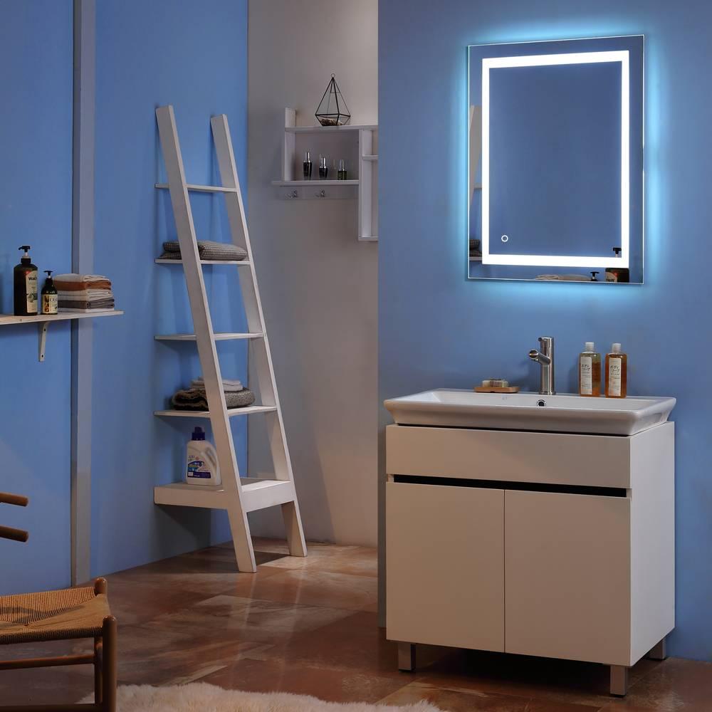Lumières De Salle De Bains salle de bain intérieur led miroir lumineux 32 « x 32 » square lumière  intégrée touch strip led miroir argent vanity lumières