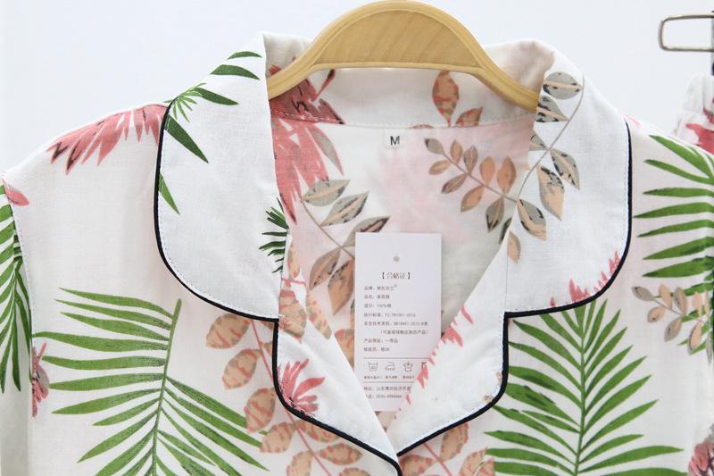 Fresh Leaf Pyjamas 100% Gauze Cotton Short Sleeve Trousers Korea Pajamas Mujer Homewear Women Sleepwear Q190513
