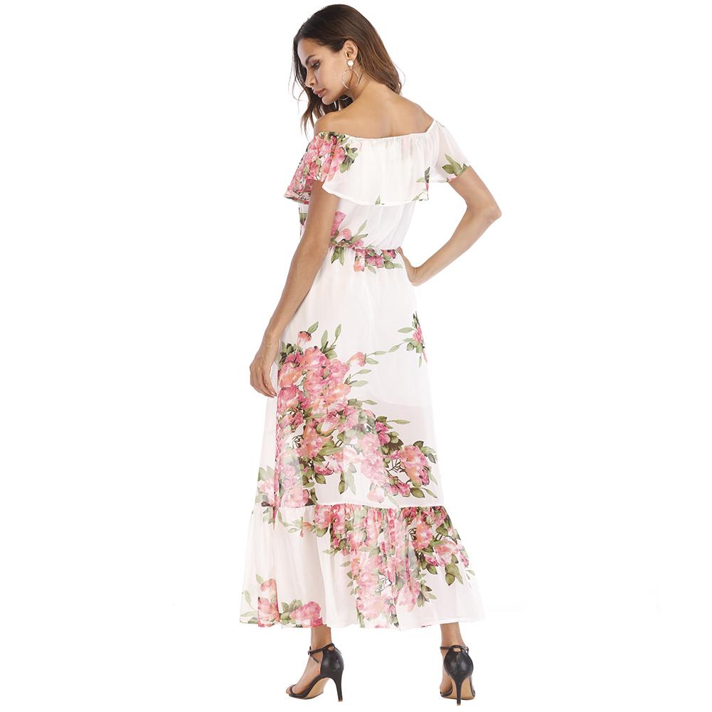 Sexy Women Chiffon Maxi Dress Off Shoulder Floral Print Ruffles Summer Beach Dress 2019 Elegant Holiday Slim Long Dress White