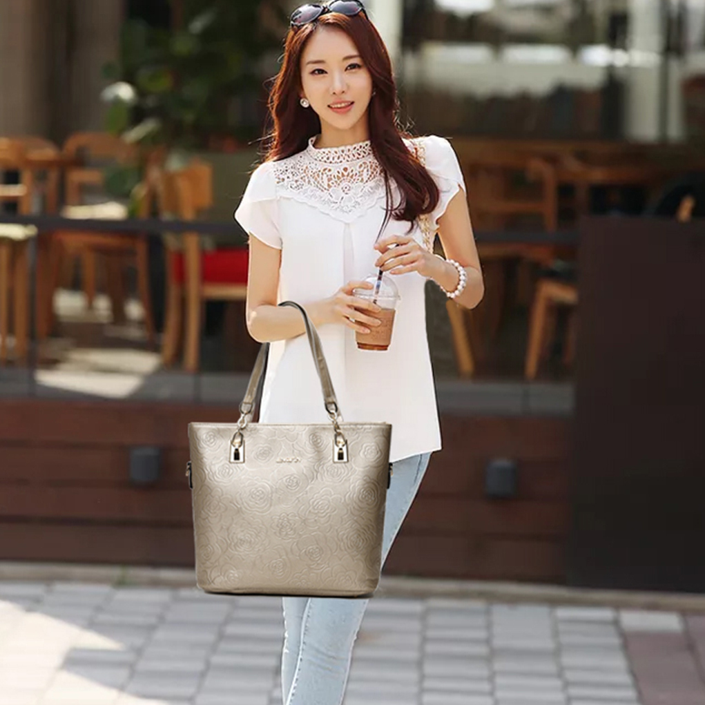 Embossed Set Hot Pu Leather Women Bags Floral Printing Set Women Handbags Purse Cultch Composite Messenger Bags Y19061903
