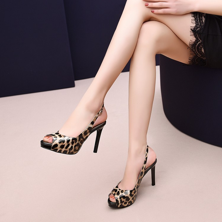 new woman sandals work shoes genuine leather pointed toe stiletto high top fashion design breathable Eu size 34-39 M62786
