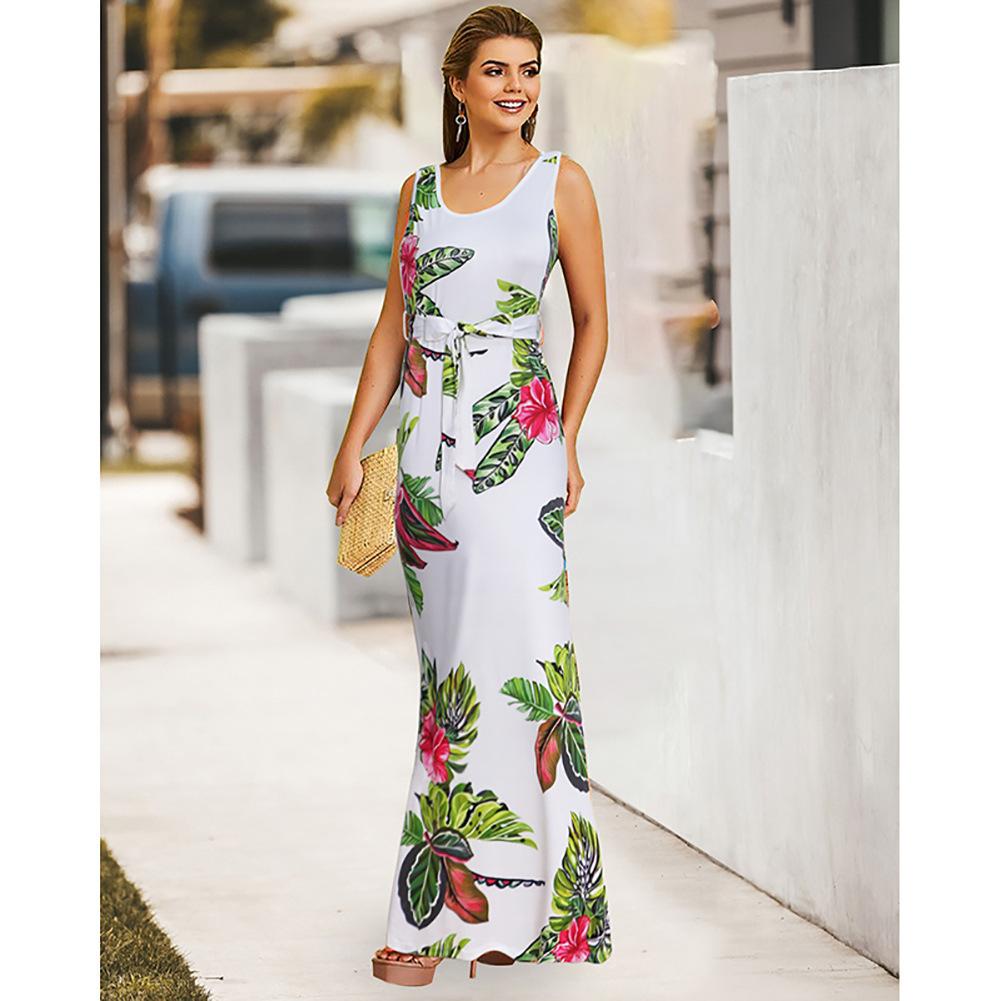 Fairy2019 Modello New Summer Dress Europeo Gilet senza maniche Gonna V Lead Bandage stampa Donna sexy