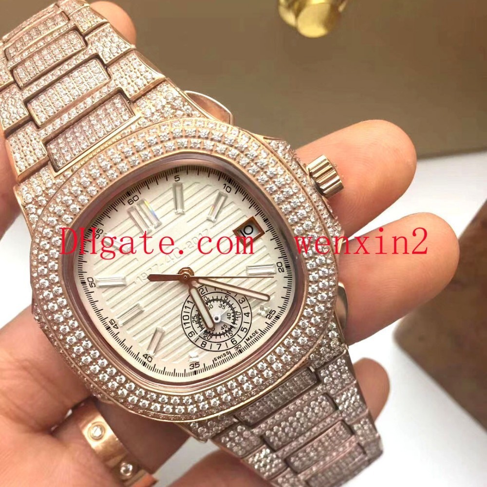 Luxury Watch 2813 Automatic With Iced President Rose Gold Watches Men Rose Gold Dial Diamond Bezel women watches Acrylic long dial