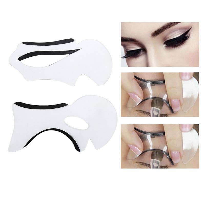 2 piezas de plantillas de cejas Cat Eyesmokey Eye Makeup Eyeliner Models Card Stencil Template New Charm Lady Shaper Bottom Liner Tools