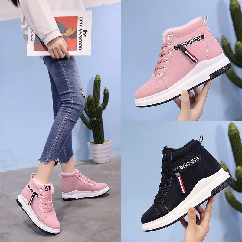 Plush Shoes Women Winter Boots Fashion Ladies Ankle Lace Up Snow Suede Insole Black Botas Mujer Zapatos De Mujer Botas Rojas563