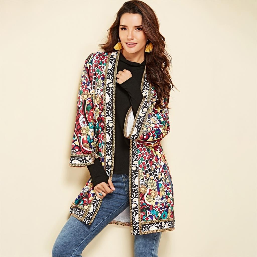 Da Donna Taglie Forti Giacca africana Dashiki cappotto manica lunga Tops Outwear vintage