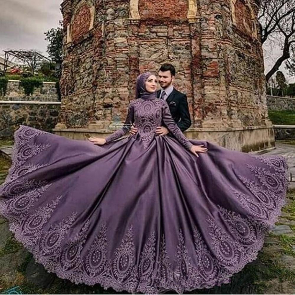18 herrlich Arabisch Lila Muslim Brautkleid türkische SpitzeApplique hohe  Ansatz islamische Brautkleid-Langarm-Brautkleid