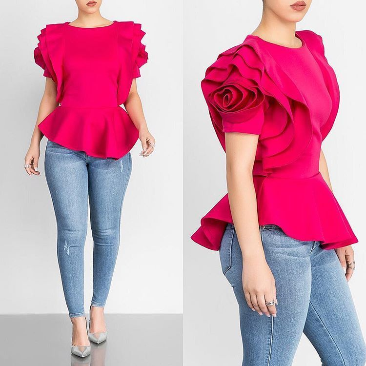 Women Blouse Tops Shirt Layers Petal Sleeves Elegant Fashion Spring Summer Rose Red Blue Black White Bluas Ruffles Classy Lady Y19062501