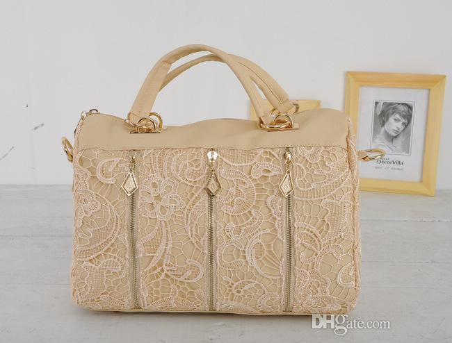 Niza Moda Pop Vintage mujer Pu cuero Messenger Bag Tote hombro bolsa de encaje Vogue