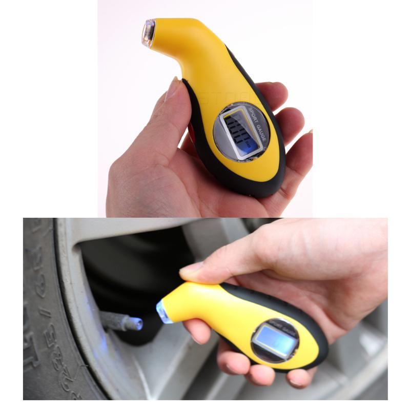 Carre Mark Digital Auto Neum/ático presi/ón del Aire Neum/áticos Metros Pantalla LCD Man/ómetro Bar/ómetro