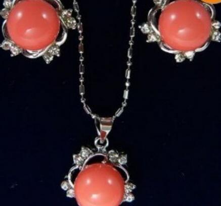 """Fashion Natural Oval Corail Rouge Collier Boucle d/'oreille gemme perles 18 /""""Femmes Cadeau"""