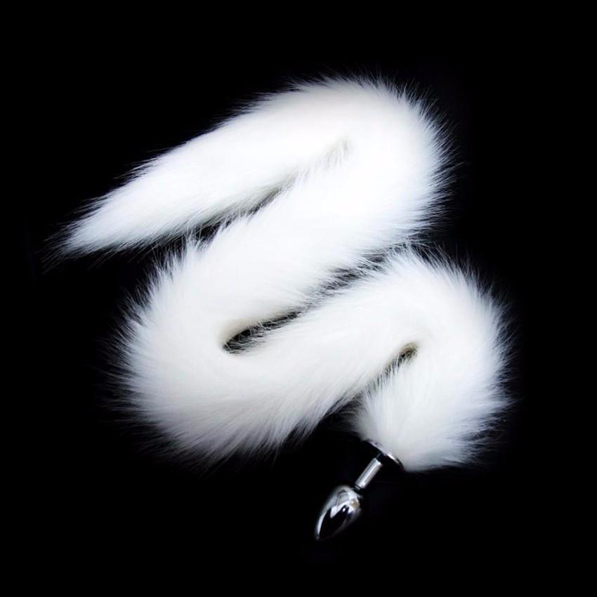 Animal Tail Metal Juguetes Sexuales Anales Super Largo Blanco Negro Rojo Adulto Artificial Fox Tail Plug Anal Butt Plug Juegos de rol Coqueteando Juguetes