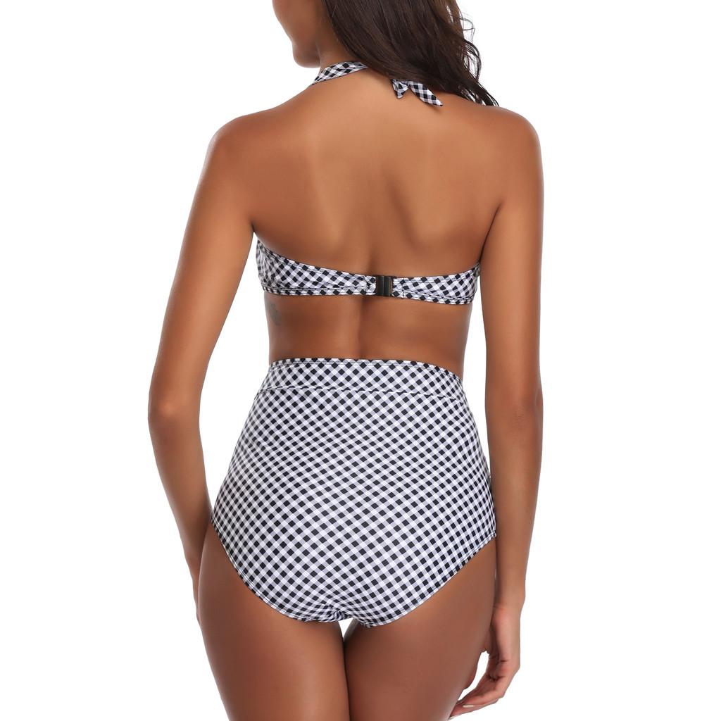 2018 Women Siamese Bikini Set Push-Up Stripe Beachwear lingerie female Traje badpakken vrouwen bikini bra set half cup #SS
