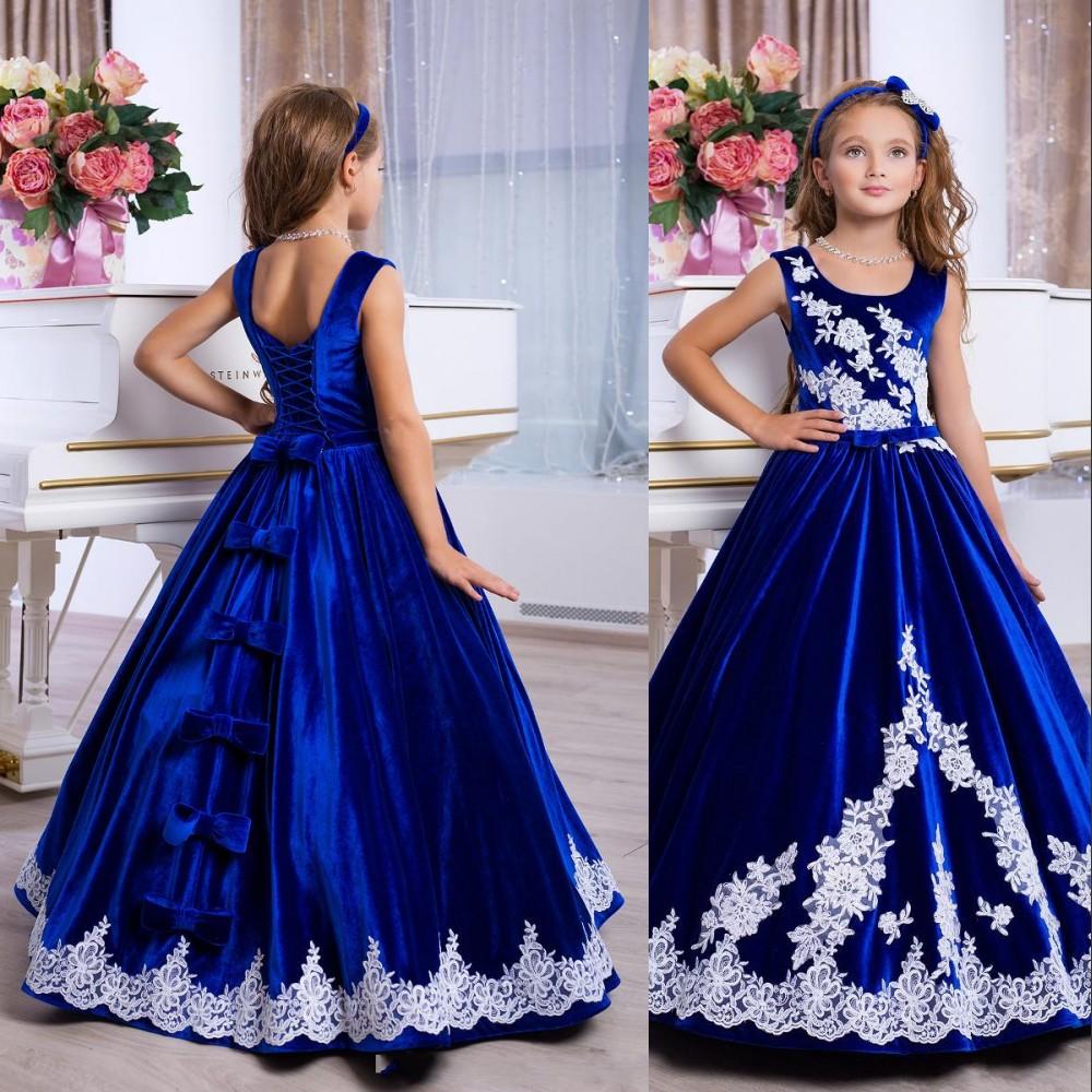 new royal blue princess mädchen-festzug-kleider velvet jewel neck ballkleid  weiß spitzeappliques bow preiswerte kind hochzeit blumen-mädchen-kleider