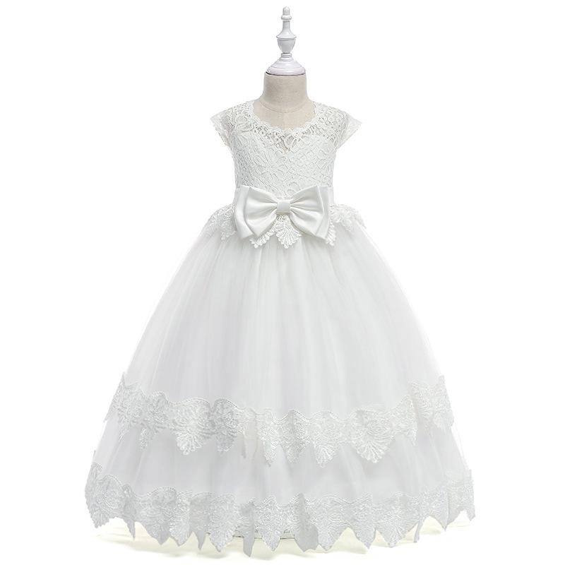 Güzel Katmanlı Kolsuz Jewel Boyun Beyaz Tül Çiçek Kız Elbise Sweep Tren ile Küçük Kız Prenses Elbiseler ile Düşük V Geri ve Yay