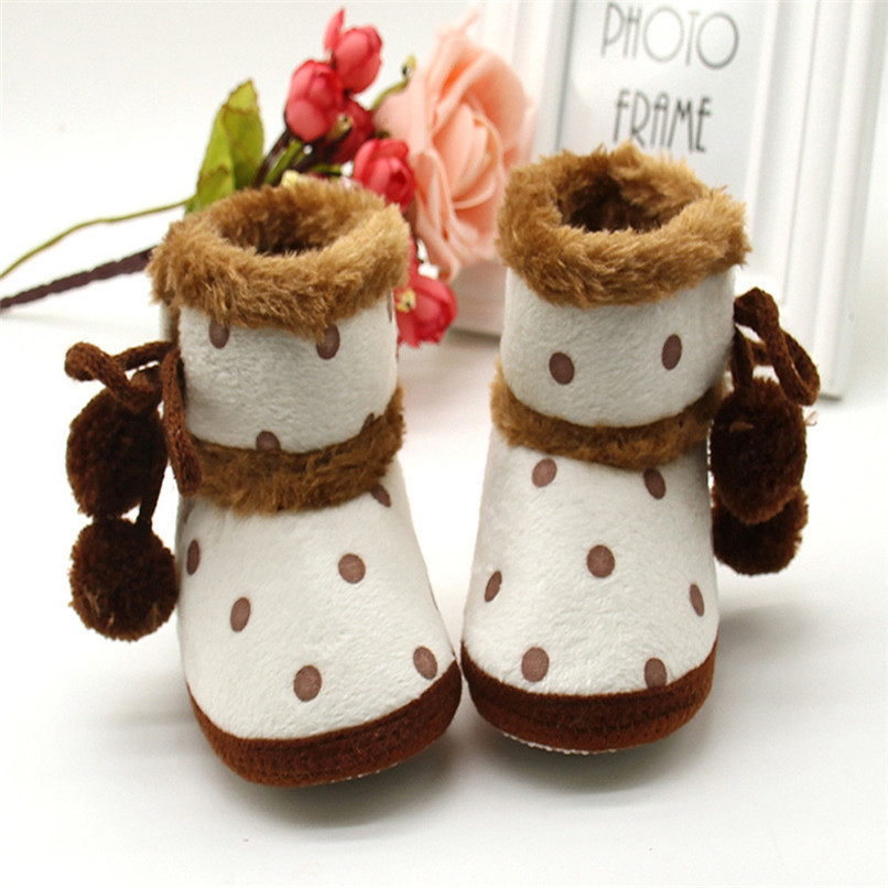 1 Pair Baby Girl Boots Baby Girl Dot Printed Bowknot Soft Sole Snow Boots Soft Crib Shoes Toddler winter Boots bota infantil D10 (3)