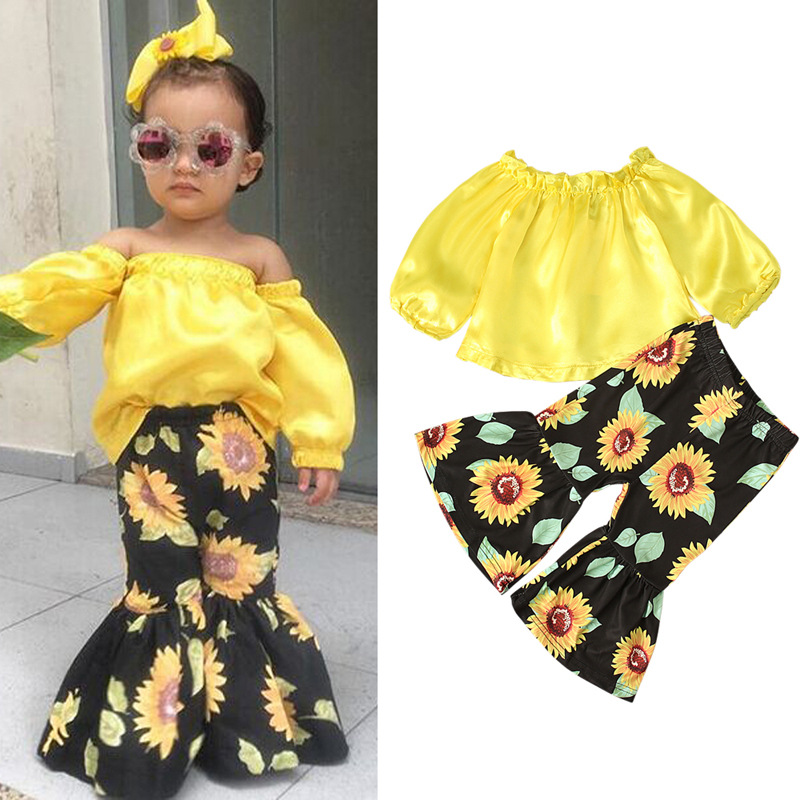 2pcs Little Girls Off Shoulder A-line Short Sleeve Top and Sunflower Flare Wide-Leg Pants Outfits
