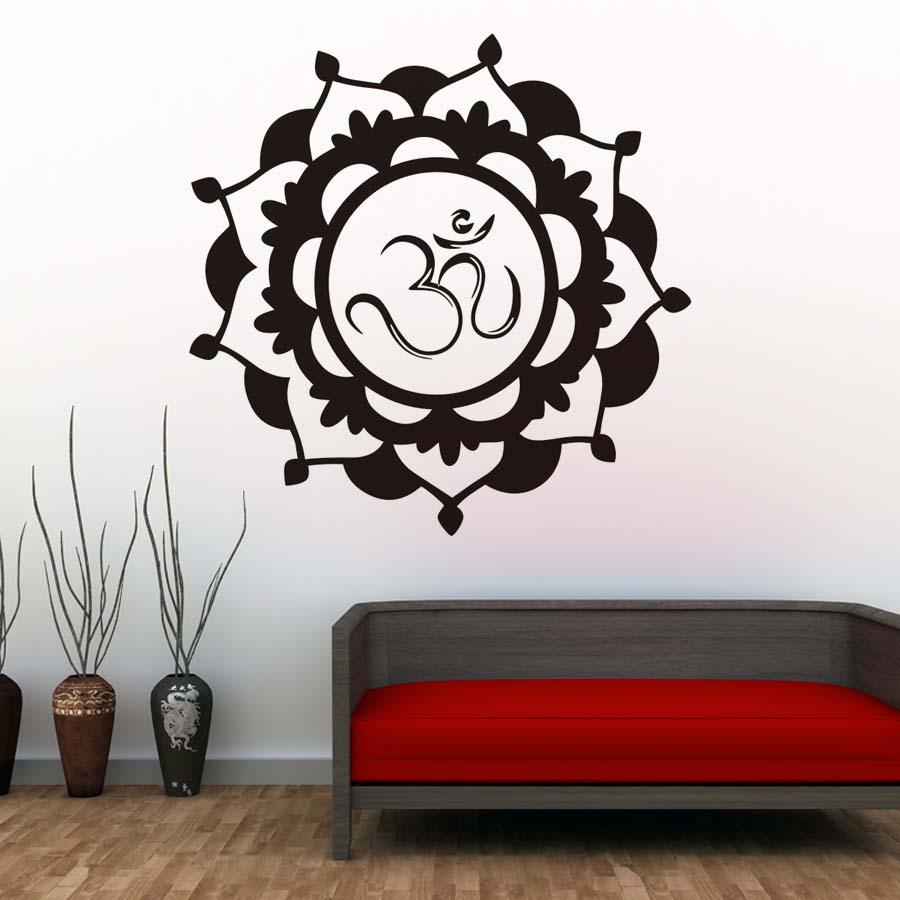 Lotus Floral Vinyle Horloge Murale Mandala Fleur Horloge Murale Mur Montre decor