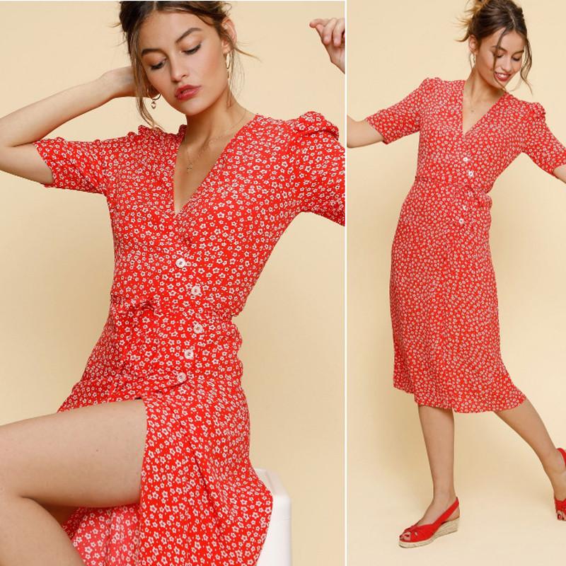 yinlinhe Green Floral Summer Dress Short Sleeve V neck Beach Wrap Dress Women Sash Slim Waist Elegant Button Vestidos 8