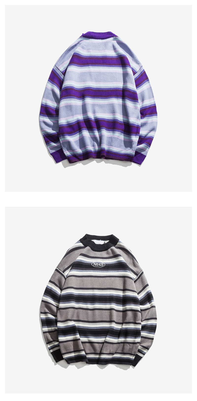 Knitted Japanese Harajuku Style Striped Sweater for Men Urban Boys Street Wear Crewneck Embroidery Pullover Jumper Oversized 8