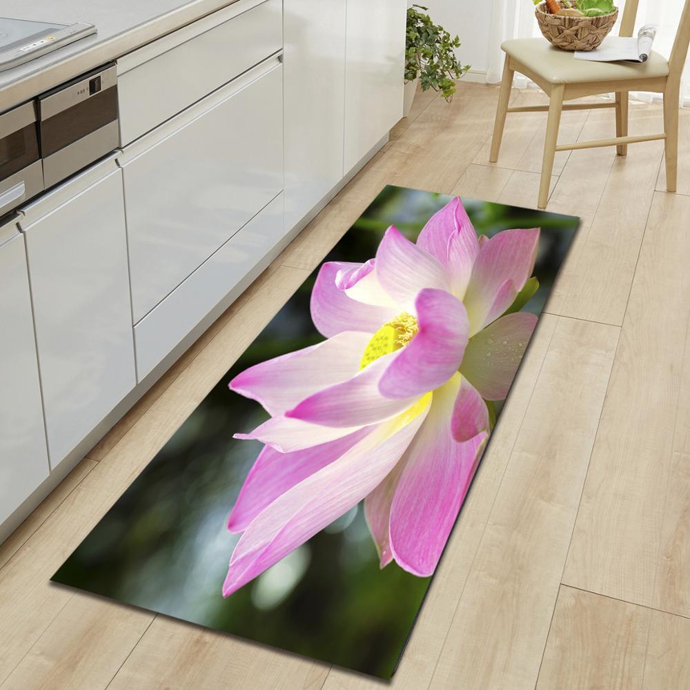 Décoration Entrée De Maison fleur imprimer longue cuisine tapis absorbant antidérapant tapis de bain  entrée paillasson moderne salon table tapis de sol décoration d'intérieur