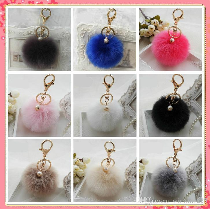 Cute Faux Rabbit fur ball plush key chain for car key ring Bag Pendant car keychain