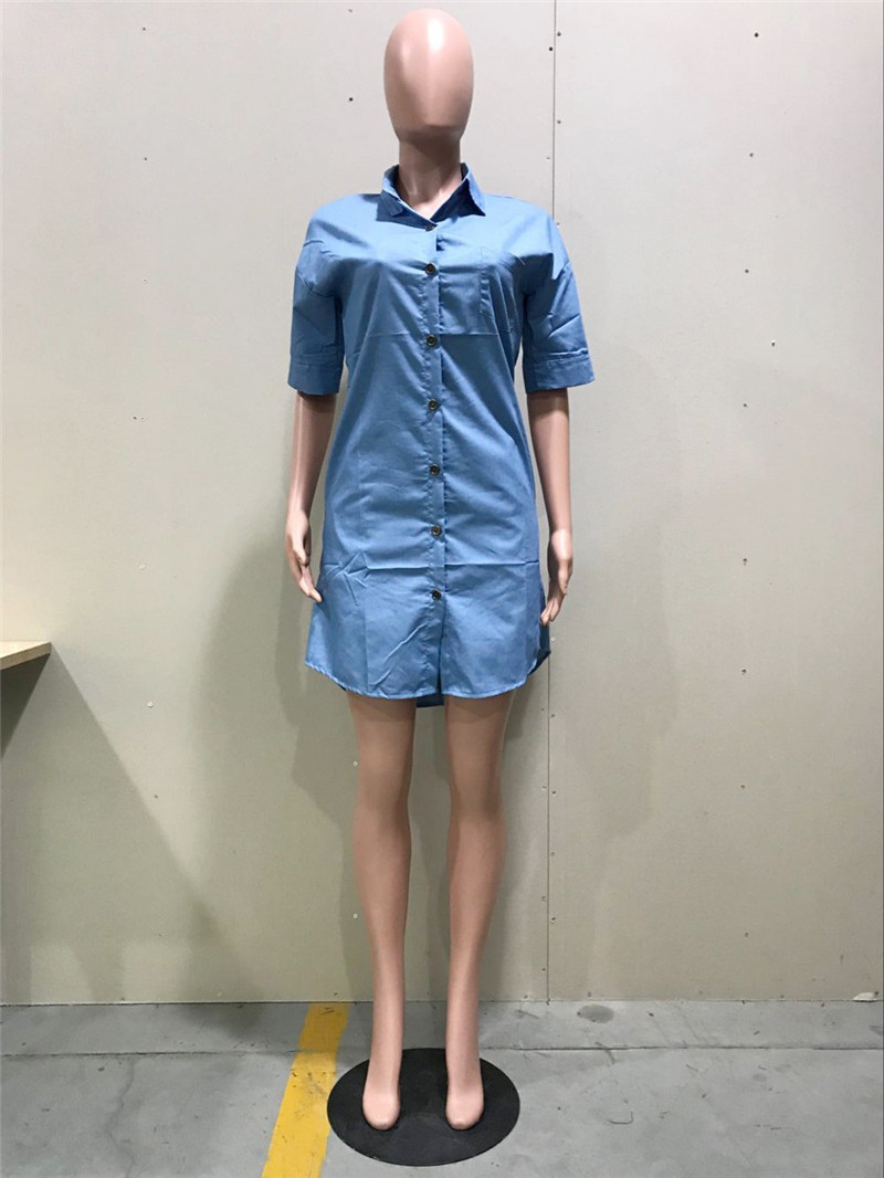 Women Short Sleeve Denim Shirt Dress Casual Long Blouse Tops Pockets Turn Down Collar Button Up Loose Blue Jeans Dress