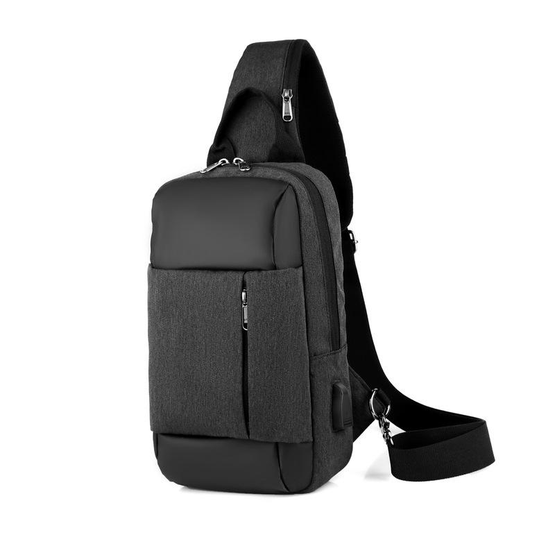 Mens Canvas Travel Casual USB Chest Bags Messenger Crossbody Shoulder Sling bags