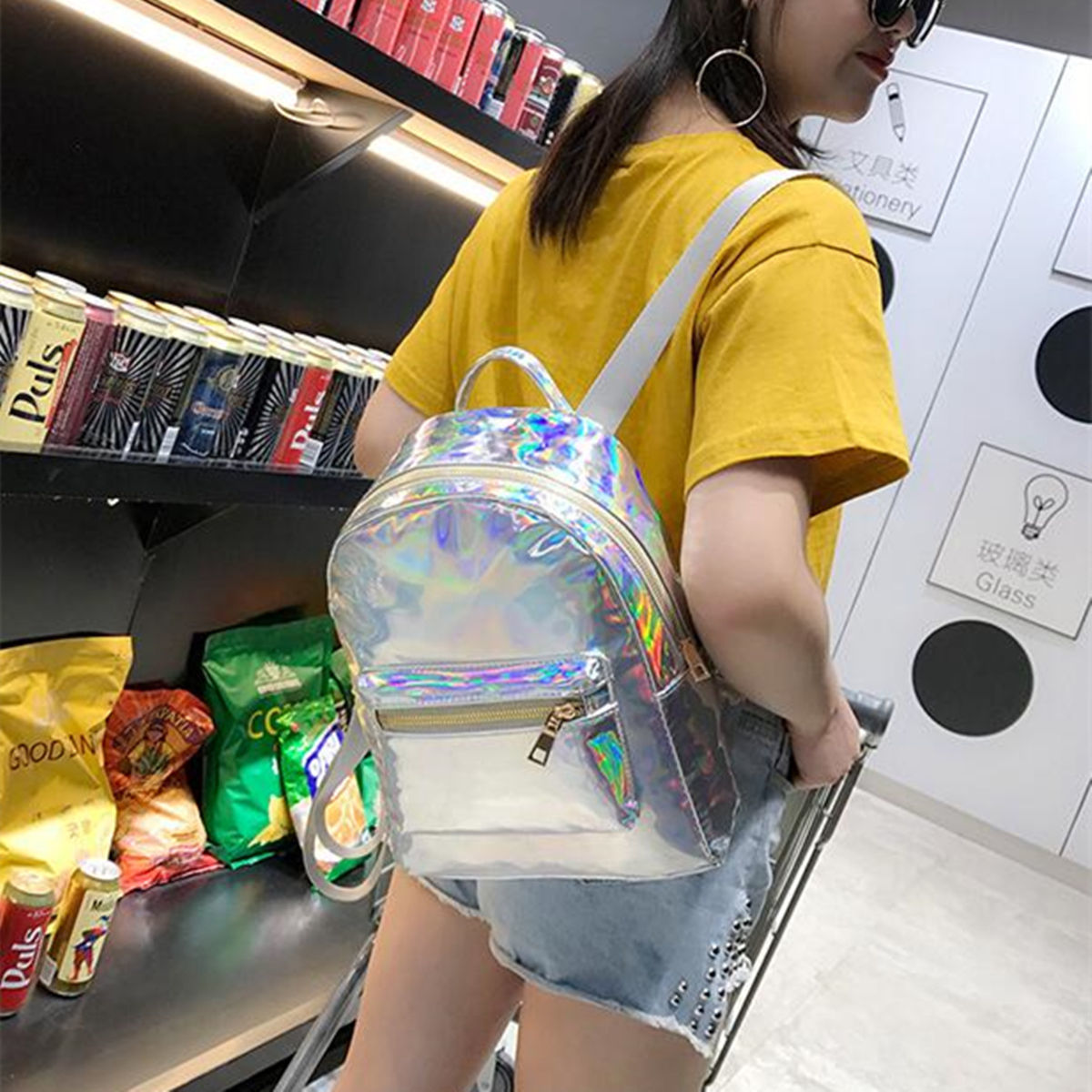 Silver Gold Pink Laser Backpack Women Girls Bag Leather Holographic Backpack School Bags For Teenage Girls Y19051405