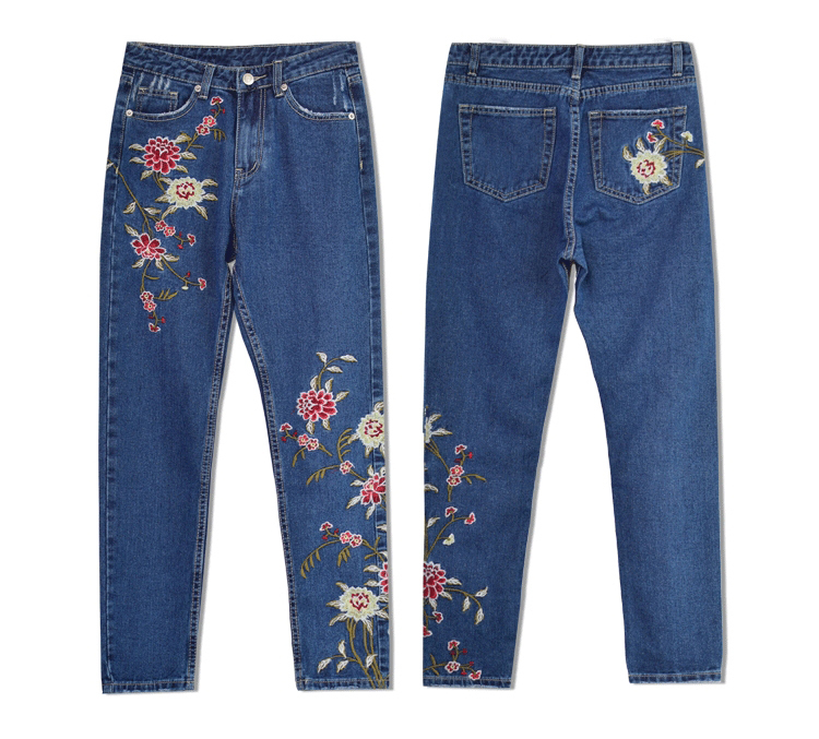 2017 European and American women 3D stereo front and rear side embroidery high waist Slim cowboy nine feet pants fashion wild (15)_