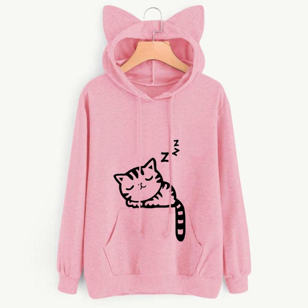 Women Cat Printed Sweatshirt Top,Mamum Womens Casual Long Sleeve Kitty Cat Print Pocket Thin Hoodie Blouse Top Black, M