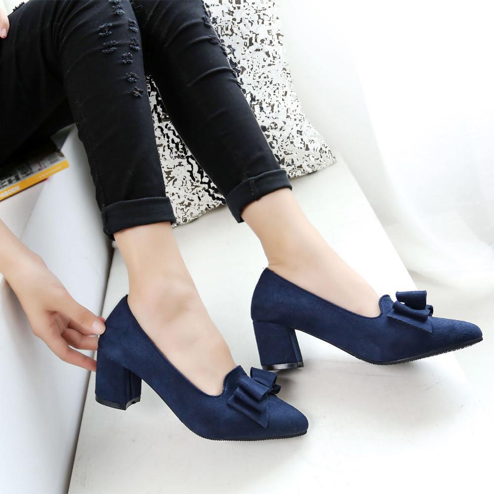 Designer Dress Shoes 2019 Candy Color Women Pumps Shallow Color Women's Bowknot Suede Block Thick High Heels Bowtie Working