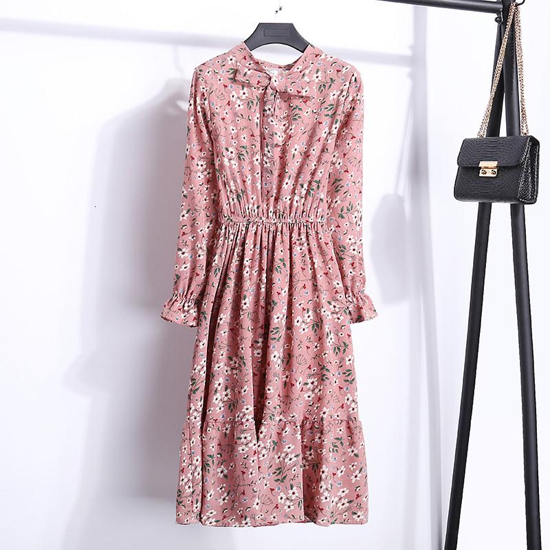 Elbise İlkbahar Ve Sonbahar Ekose Elastik Bel A Kelime Bayan Uzun kollu şifon Baskı Elbise İnce Feminino V Yaka