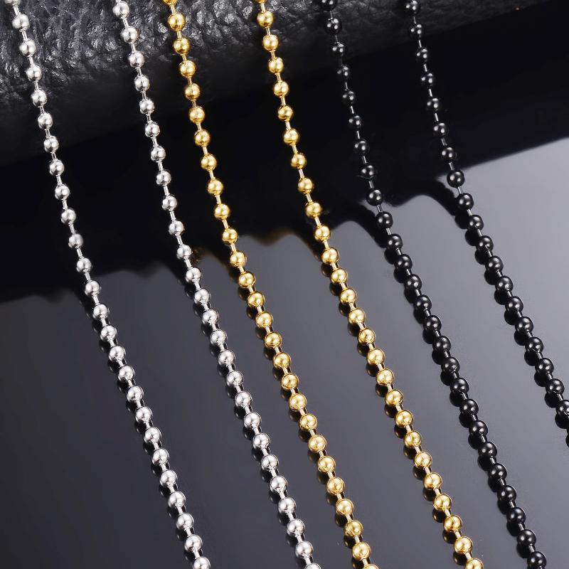 """Wholesale überzogene 2.4MM Korn-Kugel-runde Kugel-Halskette 16 /"""" 24/"""" Gut"""