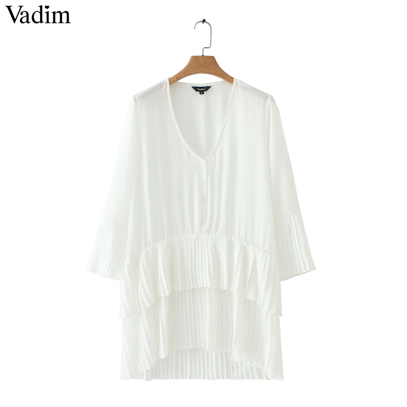 Vadim Elegant V Neck Pleated Long Chiffon Blouse Long Style Long Sleeve Sweet Shirts Ladies Casual Chic Tops Blusas La178 Y19062501